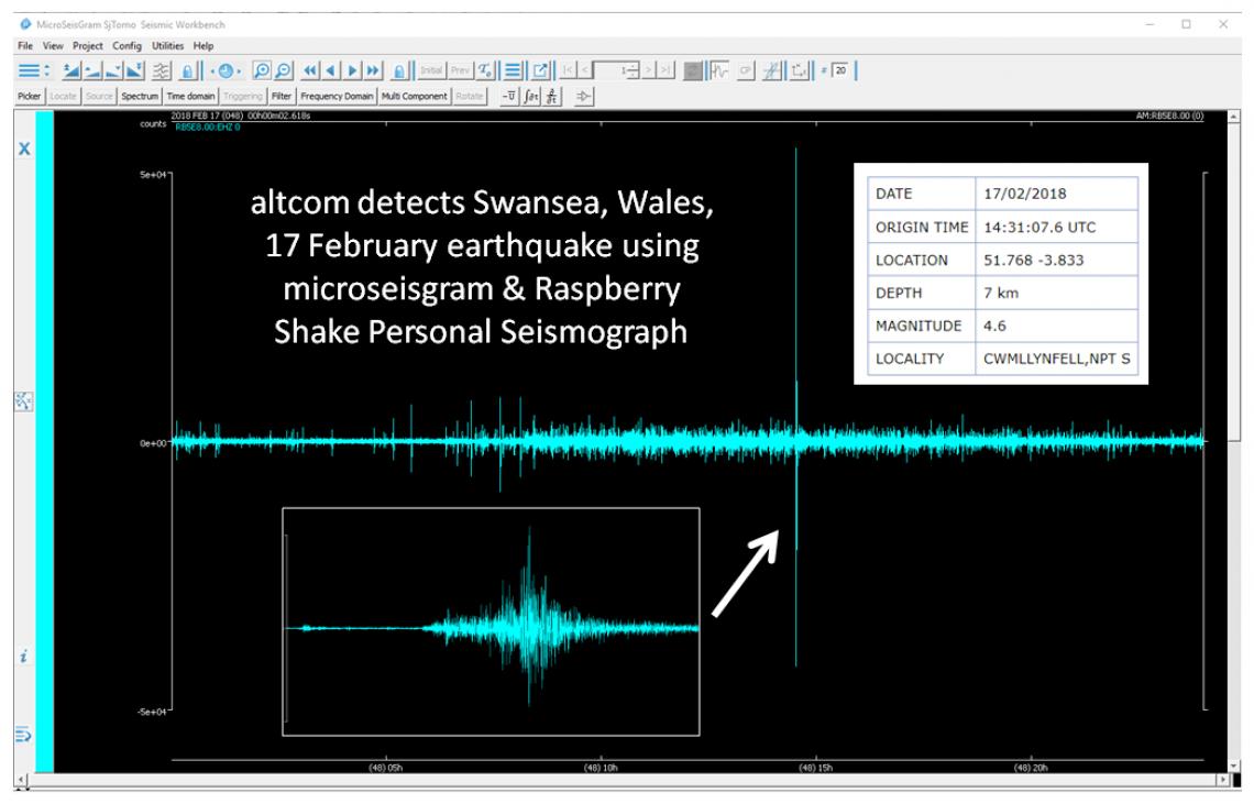 Swansea 17 February 2018 earthquake image