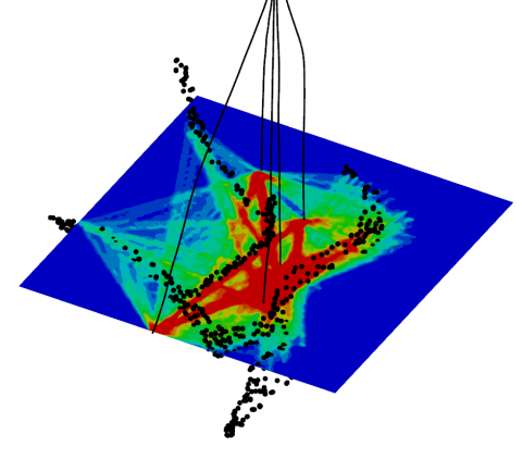 Modelled ray coverage for tomography